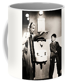 Coffee Mug featuring the photograph Marilyn Monroe Spied On By Cheeky Boy In Changing Room by R Muirhead Art