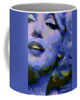 Coffee Mug featuring the painting Marilyn Monroe In Blue by Dragica Micki Fortuna