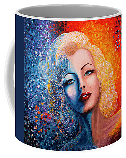Coffee Mug featuring the painting Marilyn Monroe Original Acrylic Palette Knife Painting by Georgeta Blanaru