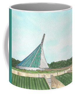 Coffee Mug featuring the painting Marine Corps Museum From The Chapel by Betsy Hackett