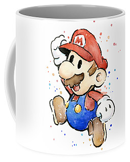 Mario Watercolor Fan Art Coffee Mug