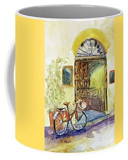 Coffee Mug featuring the painting Market Day In Lucca by Bonnie Rinier