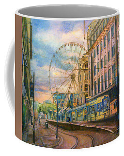 Market Street Metrolink Tramstop With The Manchester Wheel  Coffee Mug