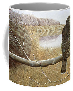 Coffee Mug featuring the painting Marsh Hawk by Laurie Stewart
