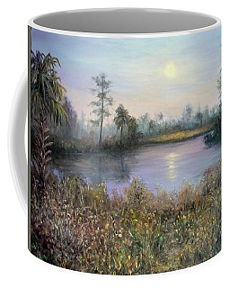 Marsh Wetland Moon Landscape Painting Coffee Mug