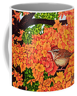 Coffee Mug featuring the painting Marsh Wren by Michael Frank