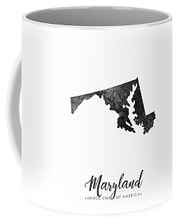 Maryland State Map Art - Grunge Silhouette Coffee Mug