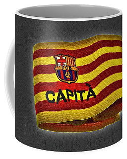 Coffee Mug featuring the photograph Mas Que Un Capitan - Carles Puyol by Juergen Weiss