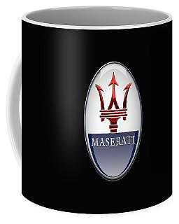 Maserati - 3d Badge On Black Coffee Mug by Serge Averbukh