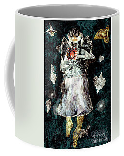 Masked Angel Holding The Sun Coffee Mug by Genevieve Esson