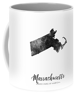 Massachusetts State Map Art - Grunge Silhouette Coffee Mug