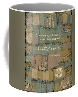 Coffee Mug featuring the painting Matthew Bible Verse by Carrie Joy Byrnes