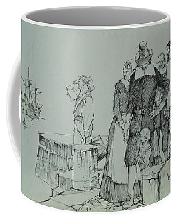 Coffee Mug featuring the drawing Mayflower Departure. by Mike Jeffries