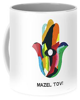 Coffee Mug featuring the mixed media Mazel Tov Hamsa- Art By Linda Woods by Linda Woods