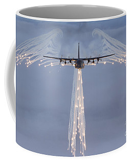Coffee Mug featuring the photograph Mc-130h Combat Talon Dropping Flares by Gert Kromhout