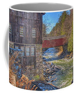 Coffee Mug featuring the digital art Mcconnells Mill Winter  by Randy Steele