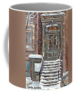Mcgill Ghetto Green Door Brownstone Winter Staircase Painting For Sale C Spandau Milton Park Scenes  Coffee Mug