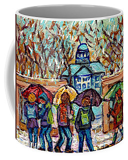 Mcgill University Canadian Painting Rainy Day Roddick Gates Montreal Scenes C Spandau Quebec Art     Coffee Mug