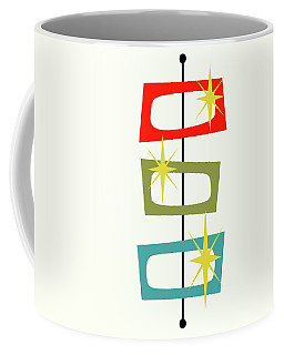 Coffee Mug featuring the digital art Mcm Shapes 3 by Donna Mibus