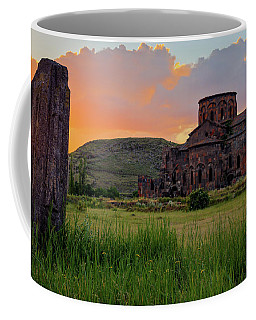 Mediaval Talin's Cathedral At Sunset With Cross Stone In Front, Armenia Coffee Mug