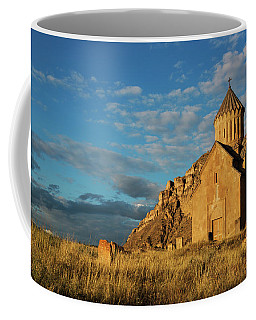 Medieval Areni Church Under Puffy Clouds, Armenia Coffee Mug