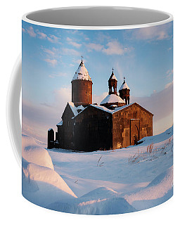 Medieval Saghmosavank Monastery Covered By Snow At Sunset, Armenia Coffee Mug