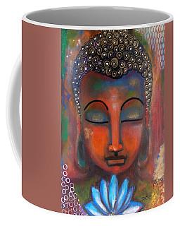 Meditating Buddha With A Blue Lotus Coffee Mug by Prerna Poojara