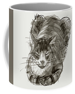 Coffee Mug featuring the painting Meditating Cat by Judith Kunzle