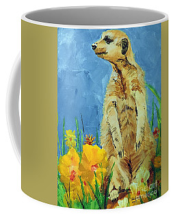 Coffee Mug featuring the painting Meerly Curious by Tom Riggs