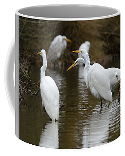 Meeting Of The Egrets Coffee Mug