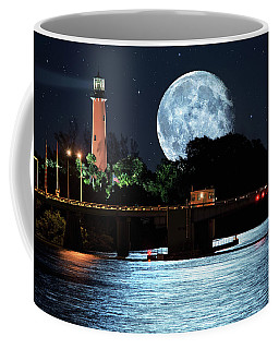 Mega Super Moon Rising Over Jupiter Lighthouse Coffee Mug