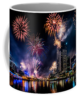 Coffee Mug featuring the photograph Melbourne Fireworks by Ray Warren
