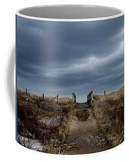 Coffee Mug featuring the photograph Melmerby Beach Boardwalk by Kathleen Sartoris