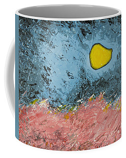 Coffee Mug featuring the painting Melting Moon Over Drifting Sand Dunes by Ben Gertsberg