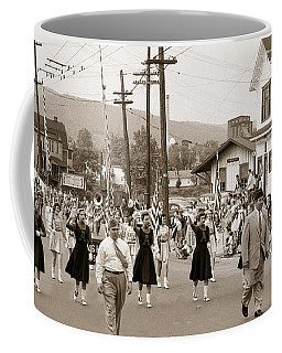 Memorial Day Parade Ashley Pa With Train Station And The Huber Colliery In Background 1955 Coffee Mug