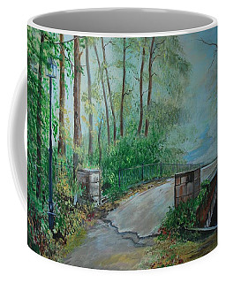 Coffee Mug featuring the painting Memory Bridge by Leslie Allen