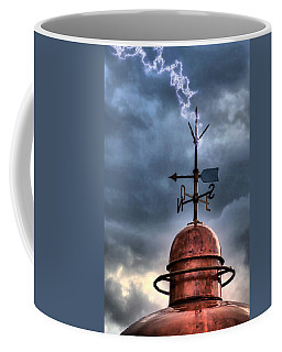 Menorca Copper Lighthouse Dome With Lightning Rod Under A Bluish And Stormy Sky And Lightning Effect Coffee Mug