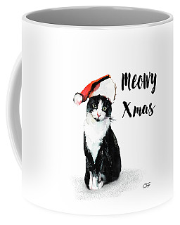 Coffee Mug featuring the painting Meowy Xmas by Colleen Taylor