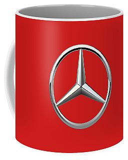 Mercedes-benz - 3d Badge On Red Coffee Mug by Serge Averbukh