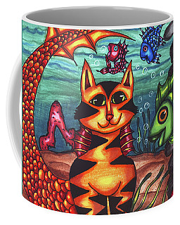 Mermaid Cat Fish Sealife Art Coffee Mug