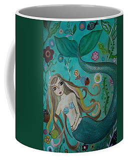 Coffee Mug featuring the painting Mermaid-lady Of The Sea by Pristine Cartera Turkus