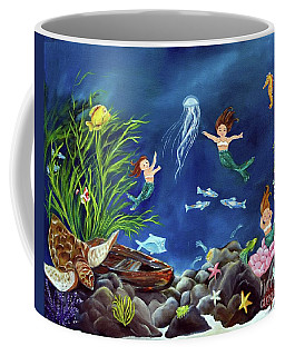 Coffee Mug featuring the painting Mermaid Recess by Carol Sweetwood