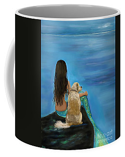 Coffee Mug featuring the painting Mermaids Loyal Buddy by Leslie Allen