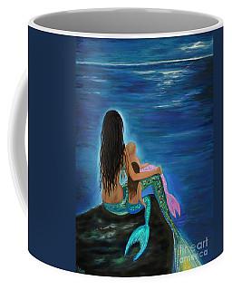 Coffee Mug featuring the painting Mermaids Sweet Little Girls by Leslie Allen