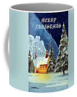 Coffee Mug featuring the painting Merry Christmas Card Yosemite Valley Chapel by Bill Holkham