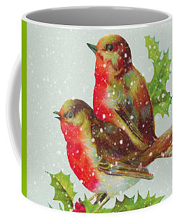 Merry Christmas Snowy Bird Couple Coffee Mug