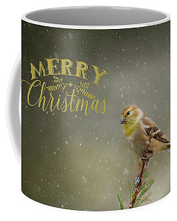 Merry Christmas Winter Goldfinch 1 Coffee Mug
