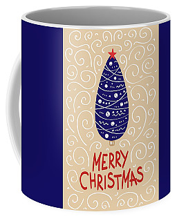 Coffee Mug featuring the digital art Merry Christmas With Tree 2 by Christopher Meade