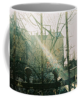 Metal Fence With Grafitti And Bridge Coffee Mug
