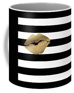 Metallic Gold Lips Black And White Stripes Coffee Mug